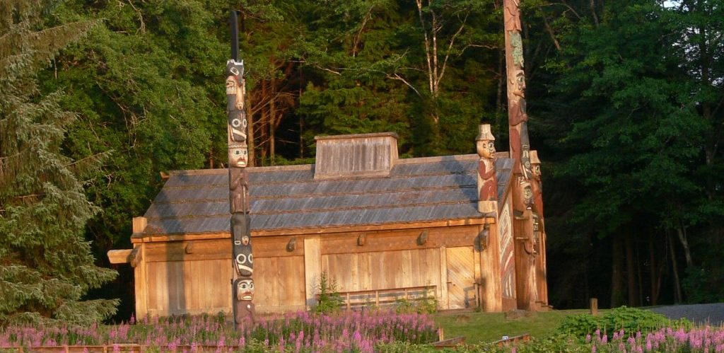 Indigenous Alaskan home with totems